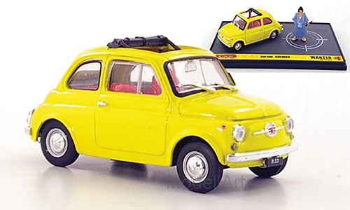 Fiat 500, gelb, Wanted - Lupin the 3rd, mit Figur Goemon