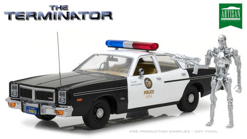 1977 Dodge Monaco Metropolitan Police with T-800 Endoskeleton Figure - The Terminator (1984)